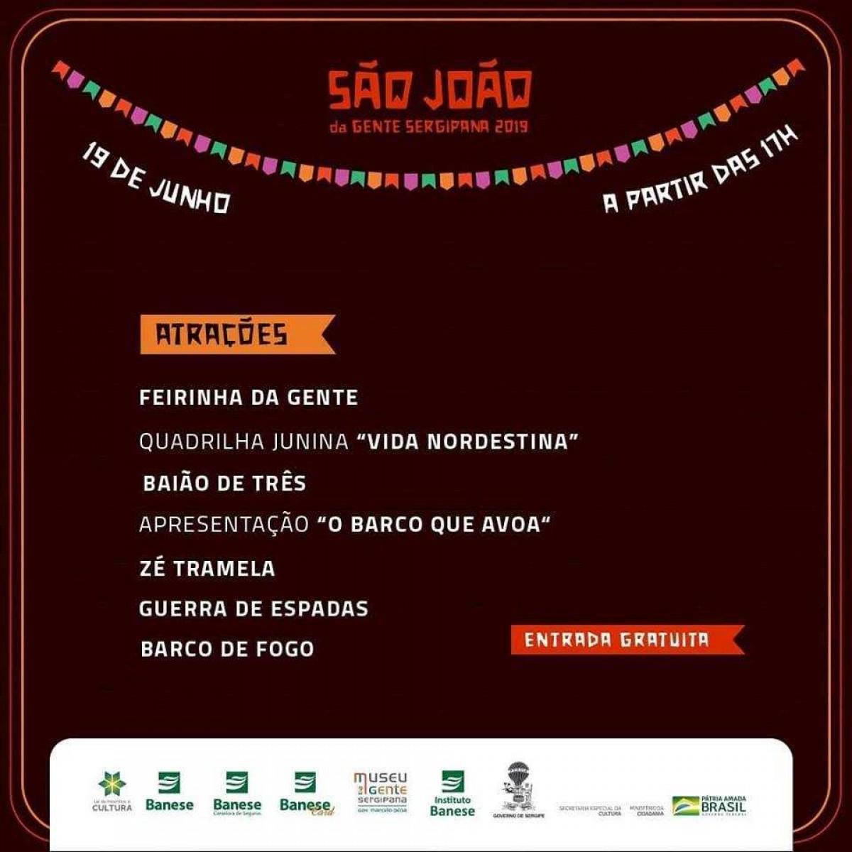 Programação do São João da Gente Sergipana 2019 (Imagem: Divulgação)