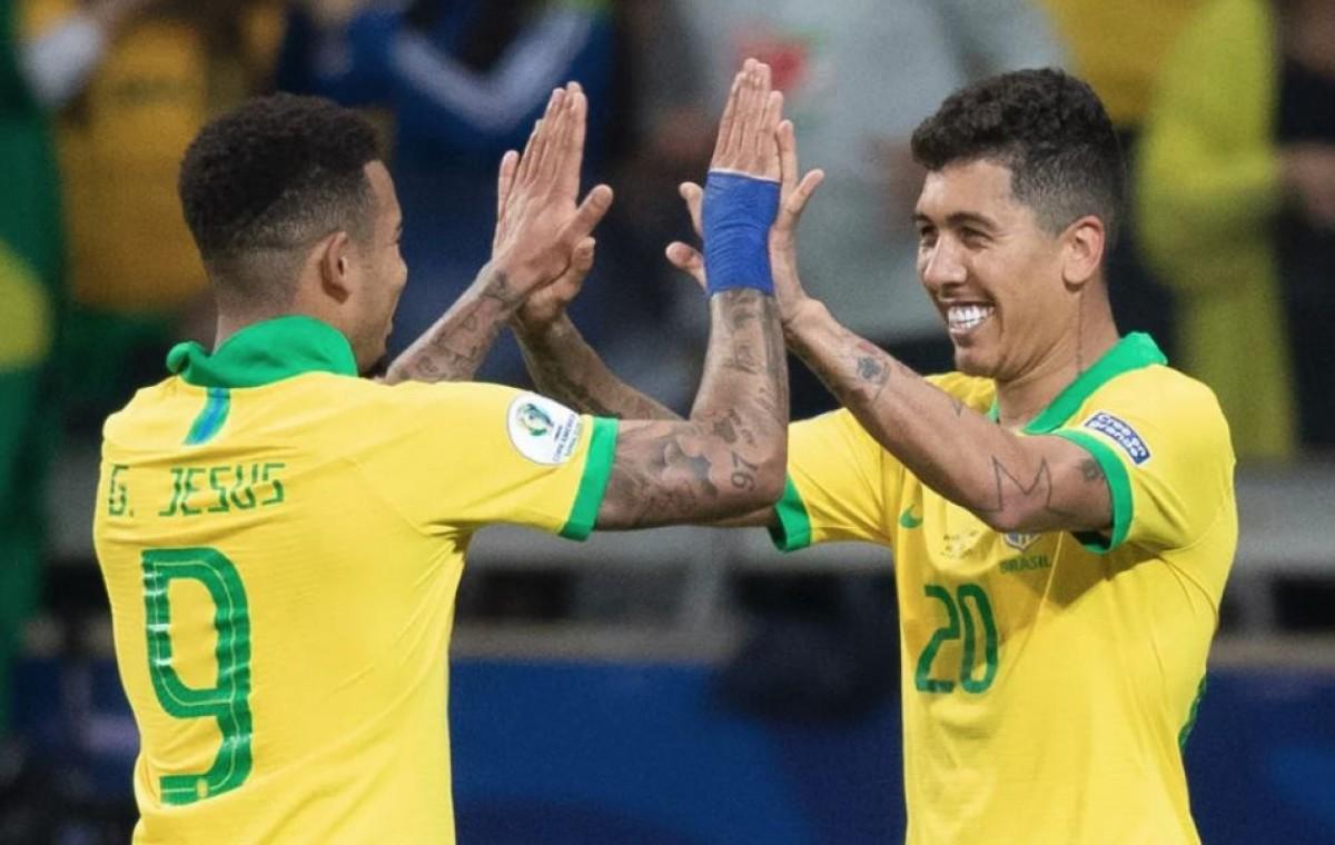 Gabriel Jesus e Firmino fizeram os gols do Brasil (Foto: Lucas Figueiredo/ CBF)