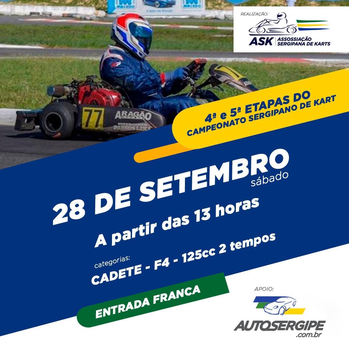 Campeonato Sergipano de Kart acontece em Aracaju (Imagem: Divulgação)