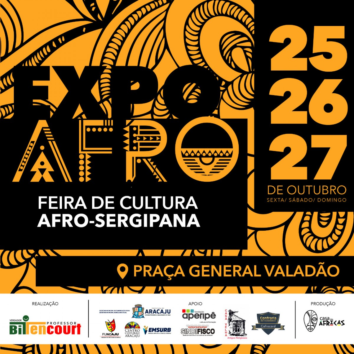 Feira de Cultura Afro Sergipana acontece de 25 a 27 deste mês em Aracaju (Imagem: Divulgação)