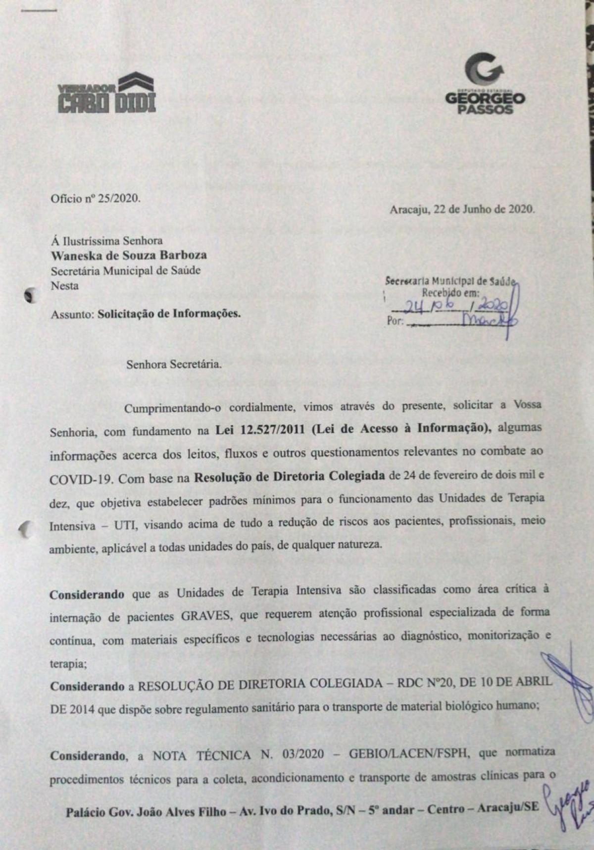Georgeo Passos e Cabo Didi pedem informações a Secretaria Municipal de Saúde sobre funcionamento da rede durante a pandemia (Imagem: Site Georgeo Passos)