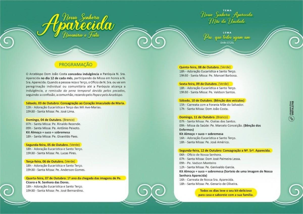 Celebração acontecerá entre os dias 3 a 12 de outubro (Imagem: Reprodução/ Facebook/ Paróquia Nossa Senhora Aparecida)