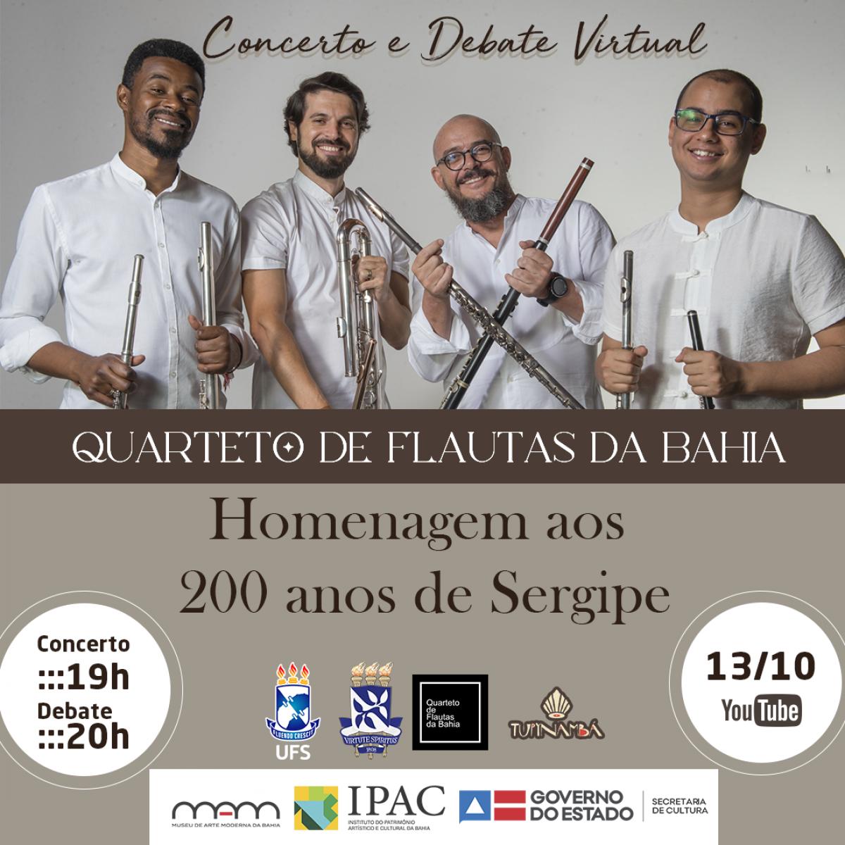 Quarteto de Flautas da Bahia, em parceria com UFS e UFBA, promove concerto virtual inédito em homenagem aos 200 anos de Sergipe (Imagem: Divulgação)