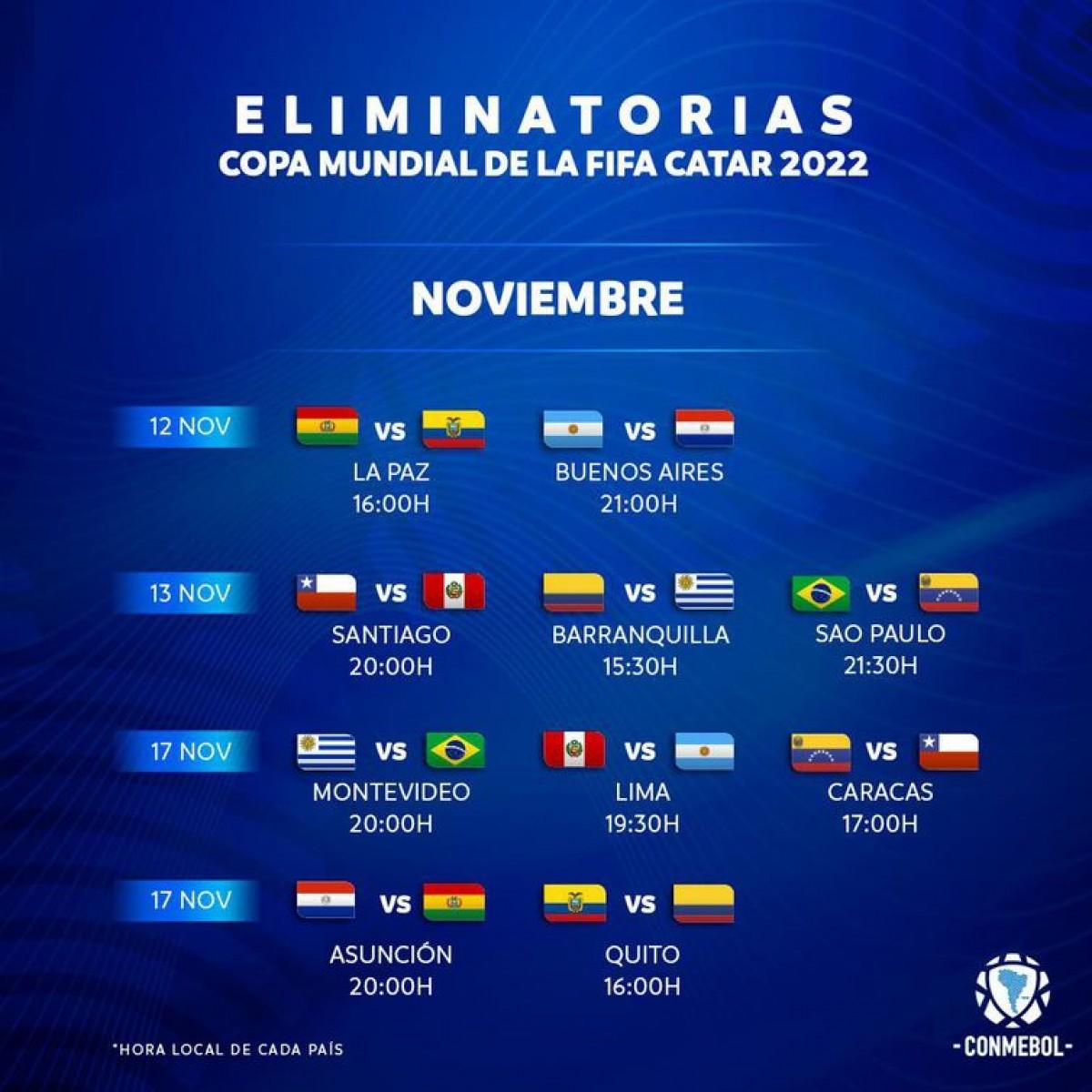 Eliminatórias: Conmebol confirma datas e horários das próximas rodadas (Imagem: Reprodução/ Twitter/ @Conmebol)