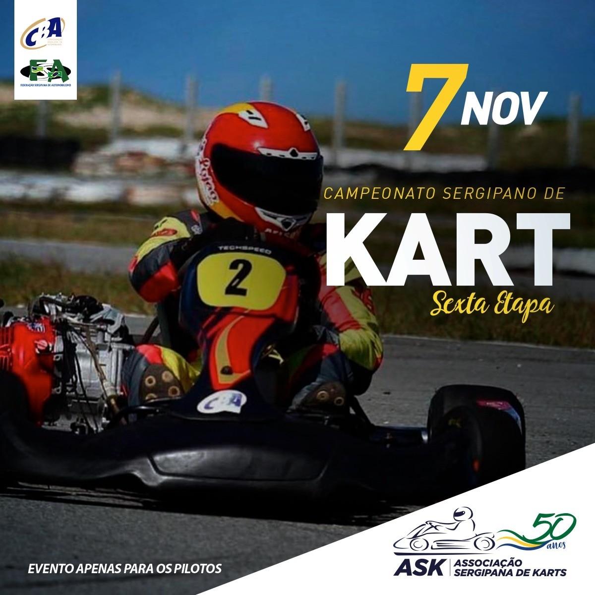 6ª etapa do Campeonato Sergipano de Kart acontece neste sábado, 7 de novembro (Imagem: Divulgação)