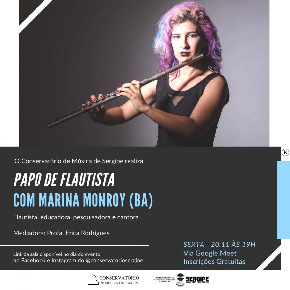 Conservatório de Música de Sergipe convida a musicista Marina Monroy para o Papo de Flautista (Imagem: Divulgação)