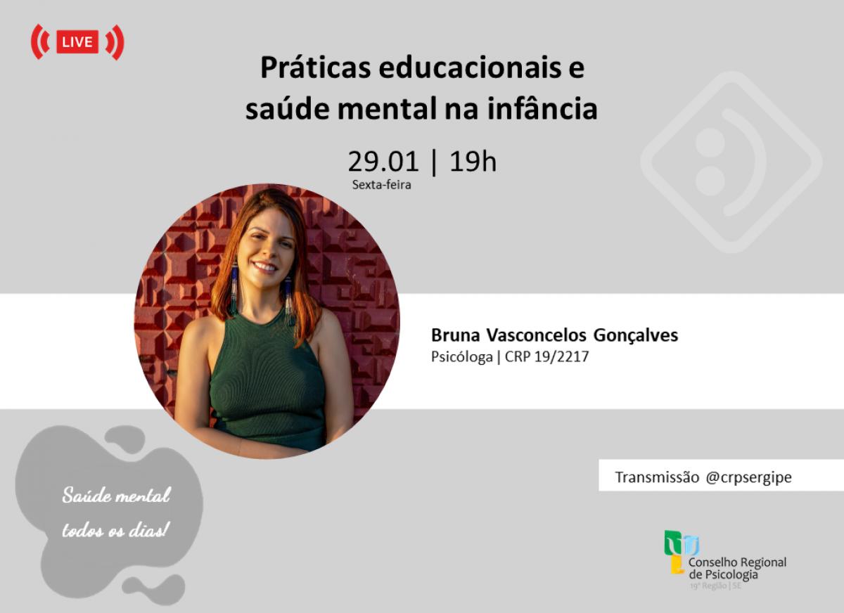 """Live: """"Práticas educacionais e saúde mental na infância"""" (Imagem: Divulgação/  Assessoria de Comunicação CRP19)"""