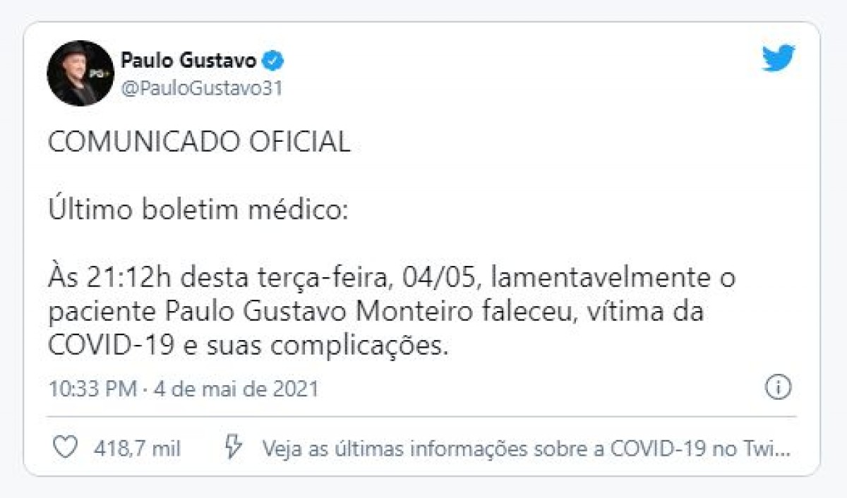 Imagem: Reprodução/ Twitter/ Paulo Gustavo
