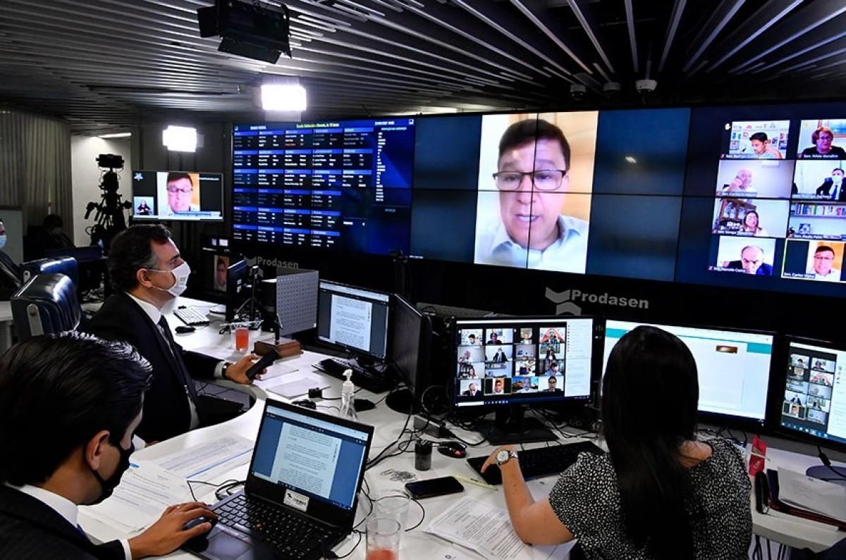 Carlos Viana (na tela) foi o relator do projeto no Senado; o texto vai à sanção do presidente da República (Foto: Waldemir Barreto/ Agência Senado)