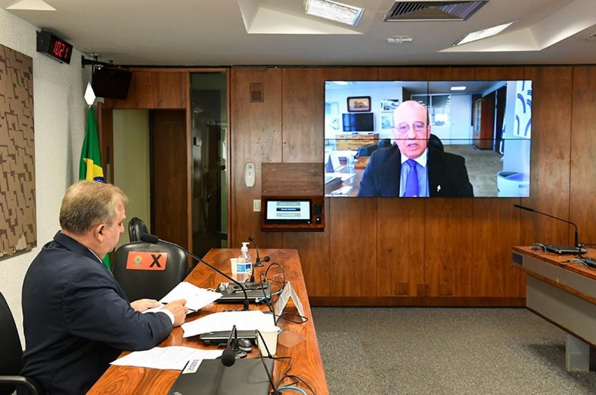 Izalci Lucas presidiu audiência remota da Comissão Senado do Futuro com o ministro Augusto Nardes, do TCU (Foto: Roque de Sá/ Agência Senado)