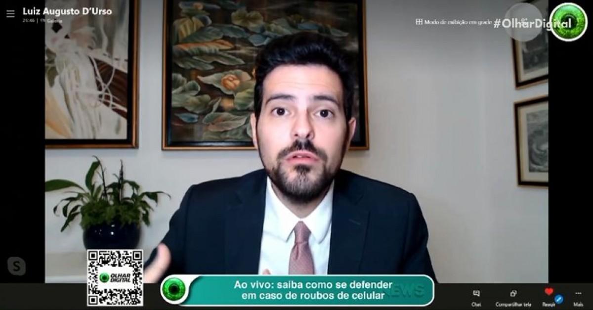 Advogado Doutor Luiz Augusto D´urso, especialista em ciber crimes (Imagem: Reprodução de vídeo/ Olhar Digital)