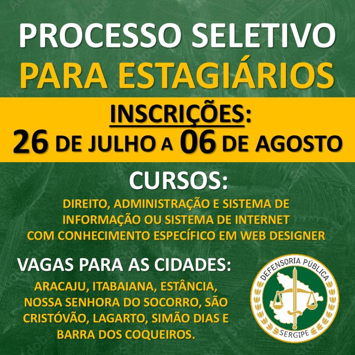 Defensoria Pública abre inscrição para estágio remunerado em Direito, Administração e Sistema de Informação (Imagem: Divulgação/ DPE/SE)