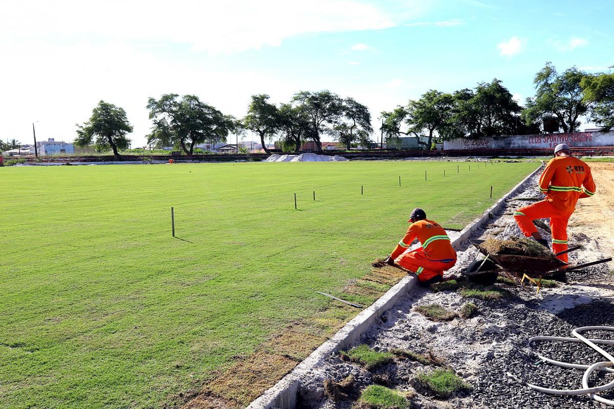 Prefeitura conclui colocação do gramado no Estádio João Hora (Foto: André Moreira/ Prefeitura de Aracaju)