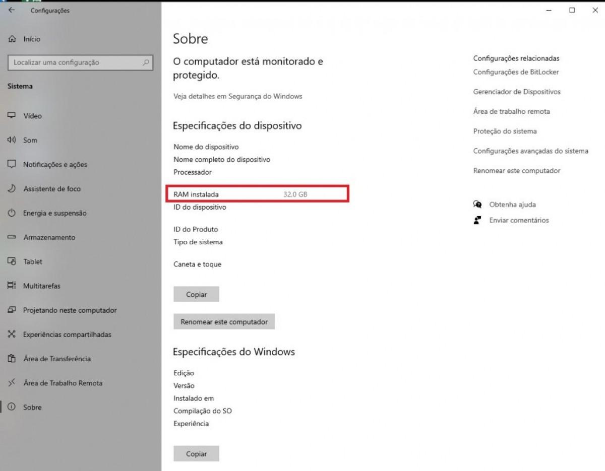Windows: saiba como consultar a memória RAM do seu computador (Imagem: Reprodução/ Olhar Digital)