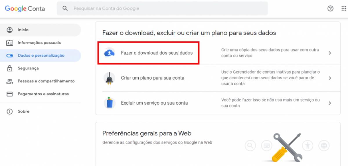 Como fazer o backup do Gmail e da sua conta do Google (Imagem: Reprodução/ Olhar Digital)