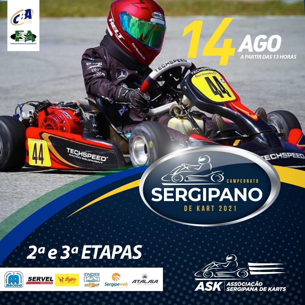 Etapas do Campeonato Sergipano de Kart serão realizadas neste sábado, 14/08 (imagem: Divulgação)