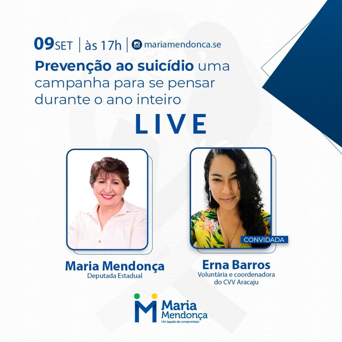 Setembro Amarelo: Sergipe ocupa terceira posição em taxa de suicídio (Imagem: Assessoria Maria Mendonça)