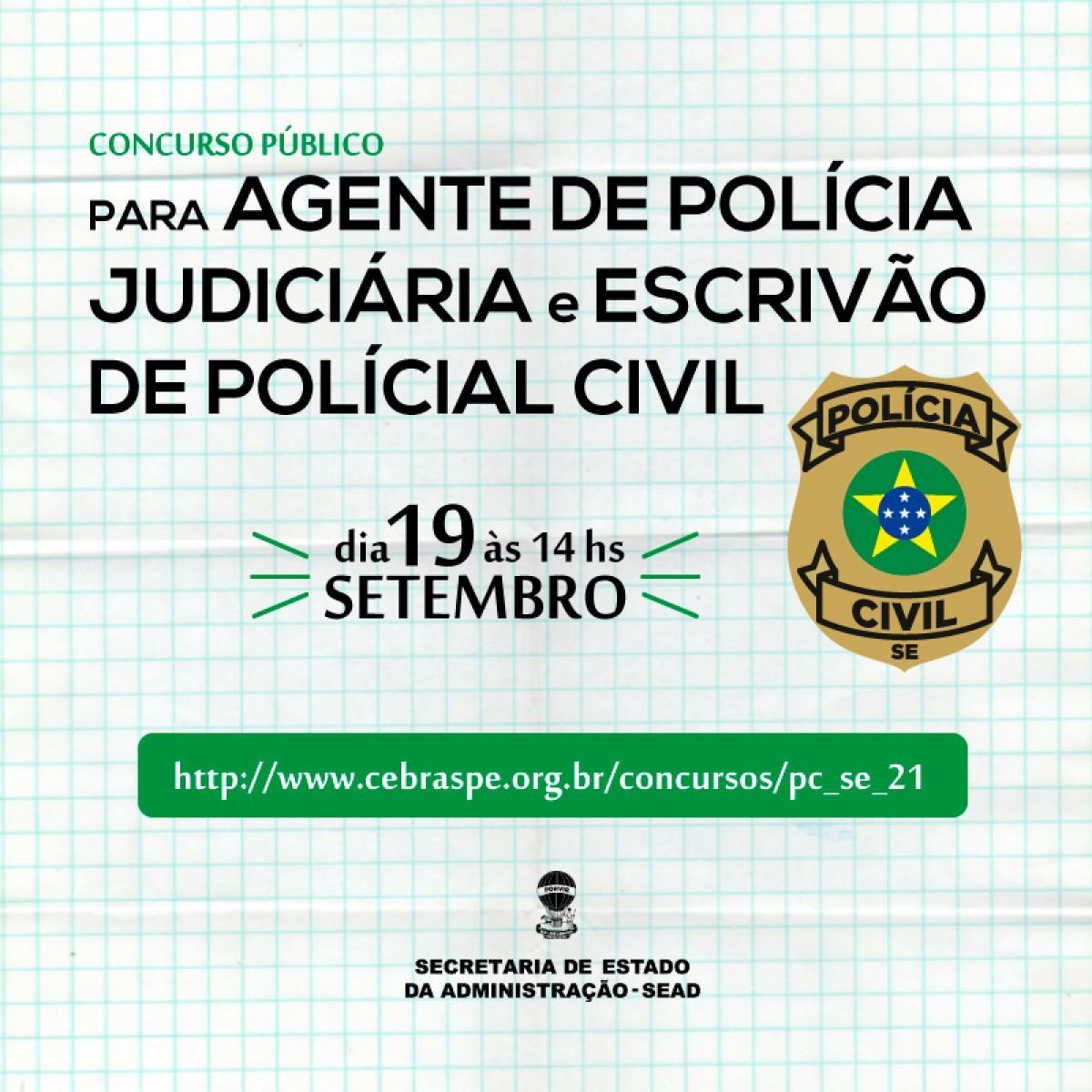 Governo realiza concurso de agente de polícia judiciária e de escrivão da Polícia neste domingo, 19/9 (Imagem: Divulgação/ Sead/SE)