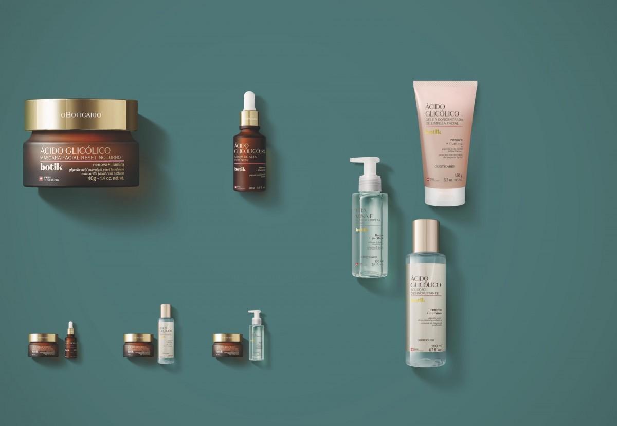 Botik, marca de cuidados faciais do Boticário, lança linha de Ácido Glicólico, que promove renovação celular e iluminação da pele (Imagem: Divulgação/ O Boticário)